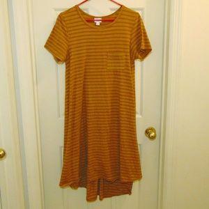 LulaRoe Brown Stripe Carly Dress Size Small